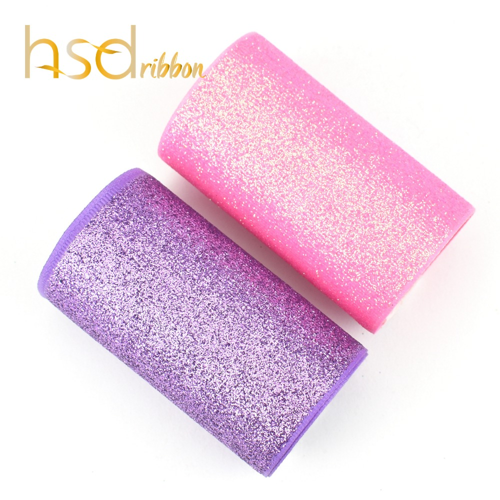 HSDRibbon 75MM 3 inch Purple and Pink Glitter Printed Grosgrain Ribbon