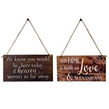 Vintage colgante de madera placa signo conmemorativo boda compromiso Junta recuerdo signo boda accesorio colgante Decoración