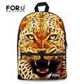 Mochila Feminina Zoo 3D Leopard Tiger Printed Canvas Backpack Animal Kids Boys School Backpack Cool Children Rucksack for Travel