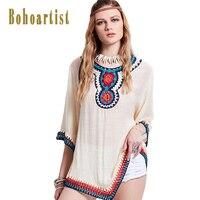Bohoartist Apparel Women Crop Tops 2017 White Floral Print Flare Sleeves Irregular Trimmed Crochet Sexy Tshirt