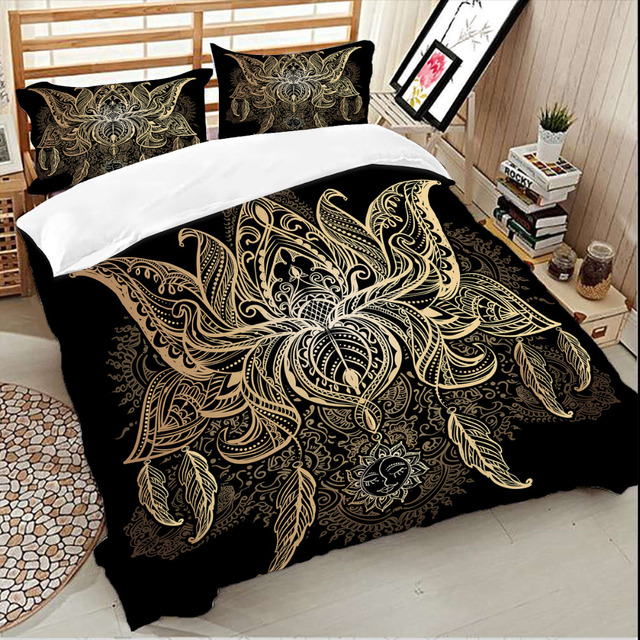 Wongs bedding Gold lotus duvet cover Bedding set black quilt Cover Bed Set 3pcs new
