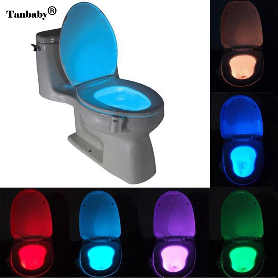 Sensor Toilet Light 8 Colors LED Battery-operated Lamp lamparas Human Motion Activated PIR Automatic RGB LED Toilet Nightlight smart led motion auto sensor activated toilet night light bathroom with 8 color changing battery operated washroom nightlight