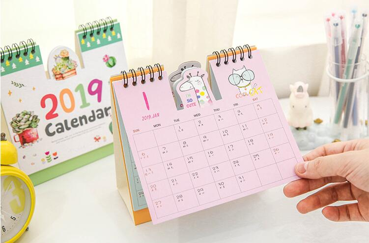1 Piece 24.8cm Big Size 2019 Flamingo Calendar Office Stationery Desk Notebook Holiday Promotion Gift Girls Birthday Gift Calendars, Planners & Cards