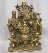 The ancient Chinese bronze statue of a samsung god wealth by hand
