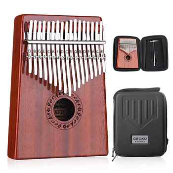 GECKO Kalimba 17 Keys Thumb Piano builts-in EVA high-performance protective box, tuning hammer and study instruction. K17MBR - DISCOUNT ITEM  36% OFF All Category
