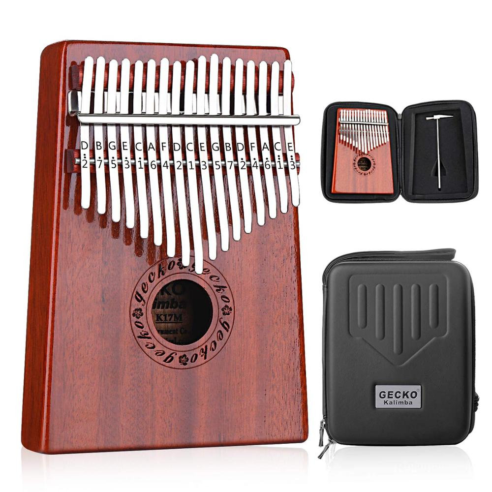 GECKO Kalimba 17 touches pouce Piano intégré-dans la boîte de protection haute performance EVA, marteau de réglage et instruction d'étude. K17MBR