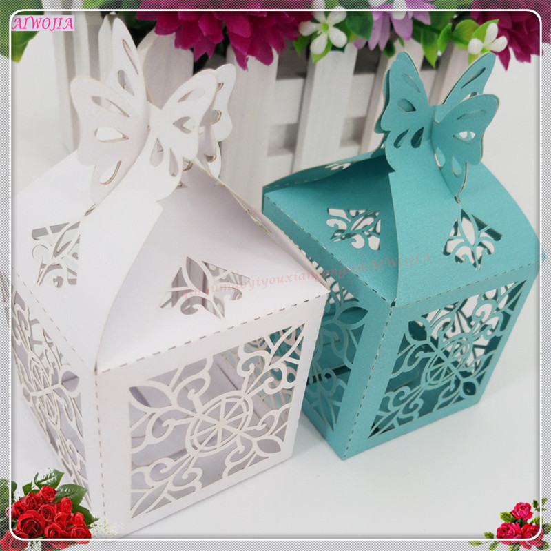 50pcs hollow butterfly candy box party wedding hollow carriage baby shower favors gifts candy boxes for