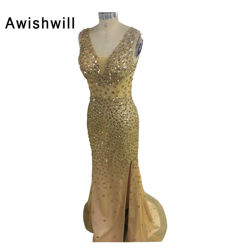 Real Photo 100% Sexig V-hals Golvlängd Crystal Beaded Front Slit Golden Prom Klänningar Långsidiga Party Gowns Vestidos De Gala