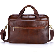 Dreamlizer Genuine Leather Men Handbags Brown Male Messenger Bags Mens Large Adjustable Briefcase Laptop Bag Man Crossbody