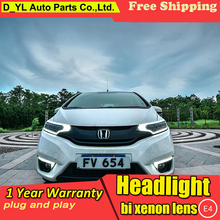 Головной фонарь для Honda Fit головной светильник s весь светодиодный головной светильник DRL Дневной ходовой светильник поворота ходовой светильник светодиодный объектив фары