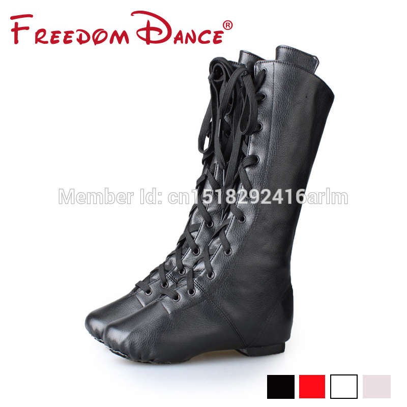 FreedomDance New Arrival High Boots For Jazz Dancers Lacing Black Red White Colors Dancing Boot Stage