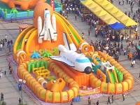 Super Big Outdoor Inflatable Trampoline Slides Obstacle Course Games