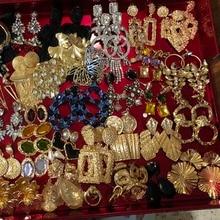 Best lady Fashion Glass Flower Drop Earrings For Women Jewelry Dangle Geometric