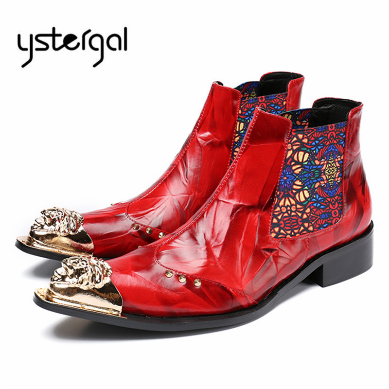 YSTERGAL Red Pointed Toe Men Ankle Boots Genuine Leather Chelsea Boots Botas Hombre Cowboy Military Boots Formal Dress Shoes british men ankle boots spring autumn pointed toe soft genuine leather botas hombre cowboy military booties wedding dress shoes