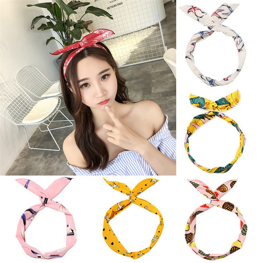 Metal Wire Scarf Headband   Headwear   Women Rabbit Ear Hairband Fabric Hairwrap Tie Head Band Bowknot Hair Accessories For Women 30