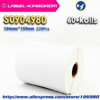 60 Rolls Dymo Kompatibel S0904980 Label 104mm * 159mm 220 Pcs/Rolle Kompatibel für LabelWriter 4XL Drucker 4