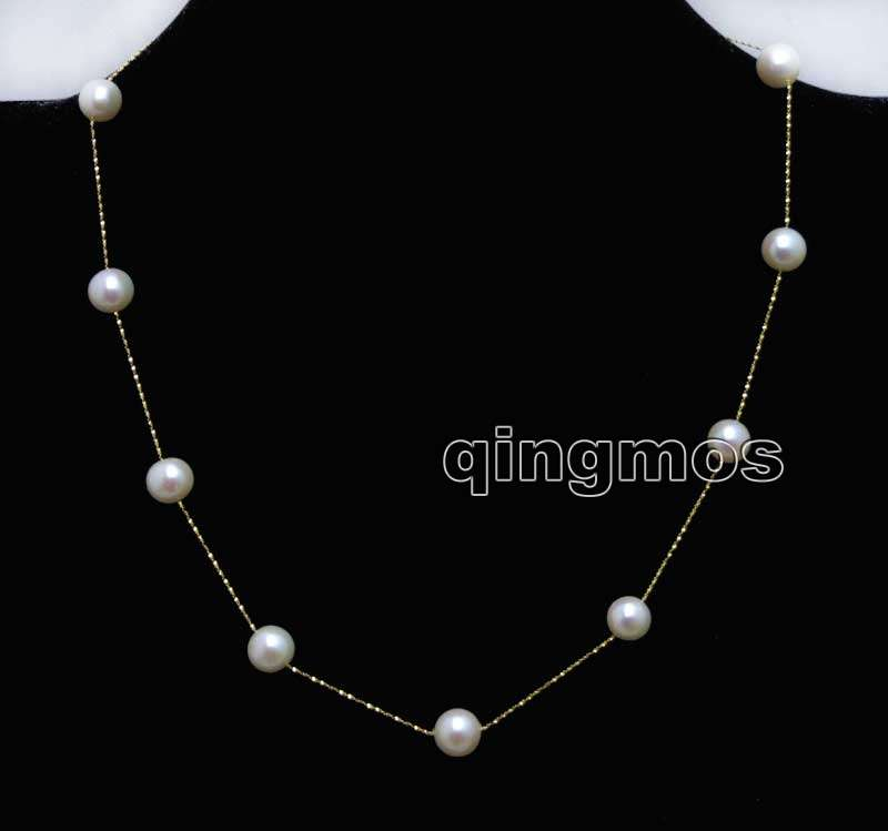 gold Chain Floating AAA 8 8 5mm White Round Natural Freshwater pearl 16 necklace nec6376