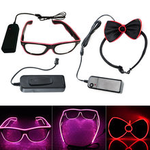 Smart Remote Control El Wire Neon LED Light Up Shutter Shaped Glow Sun Glasses Rave Bow Tie Costume Party DJ Bright Glasses(China)