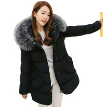 Woman Winter Collection 2016 Winter Coat Fashion Long Style Fur Collar Hooded Warm Jacket Padded Parka Coat  SS893a
