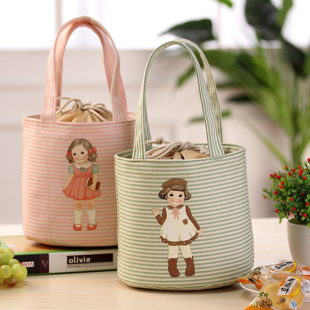 Torba Termiczna Bolsa Almuerzo Thermal Bag Lunch Box Cute Doll Thermal Insulated Tote Cooler Bag Bento Pouch Lunch Container