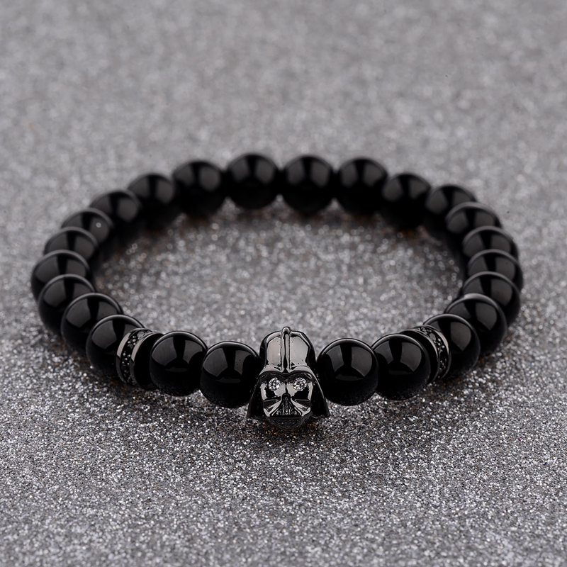 DOUVEI 2017 New Charm Mens Star Wars Darth Vader CZ دستبند Beaded 8mm Bright Black Lava Stone AB1012