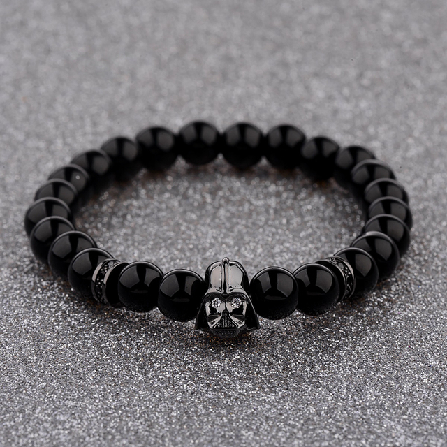 Douvei 2017 New Charm Mens Star Wars Darth Vader Cz Beaded Bracelets 8mm Bright Black Lava