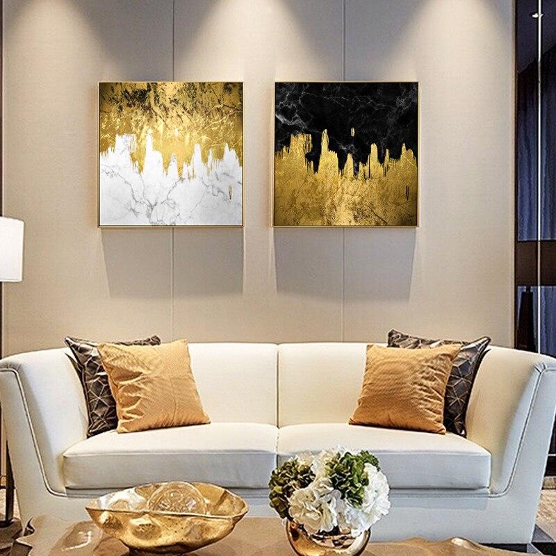 Emas Mengalir Cat Kanvas Lukisan Abstrak Gambar Dinding Untuk Ruang - Dekorasi rumah - Foto 2