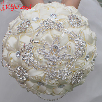 Wifelai a stunning ivory rose diamonds tassels stitch wedding bouquet bridal mariage brooch bouquet flowers w2218.jpg 350x350
