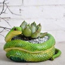 New 2017 small resin garden supplies flower pot planter pots decorative Cartoon simulation snake succulents pots