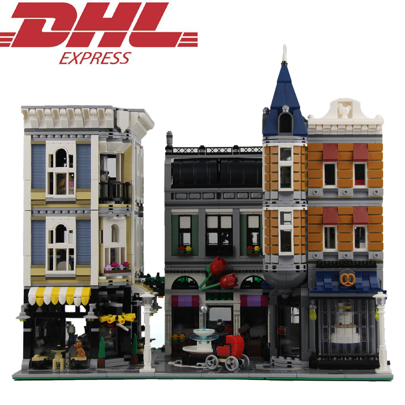 4002pcs City Street Figures Assembly Square Model Building Kits Blocks Bricks Toys For Children Christmas Gift Compatible 10255 335pcs 0370 sluban figures aviation city aircraft medical air ambulance model building kits blocks bricks toys for children gift