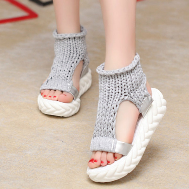 Women Sandals 2018 Summer Sandals shoes on the wedge shoes flip flops gladiator Bottom Women Shoes footwear heeled