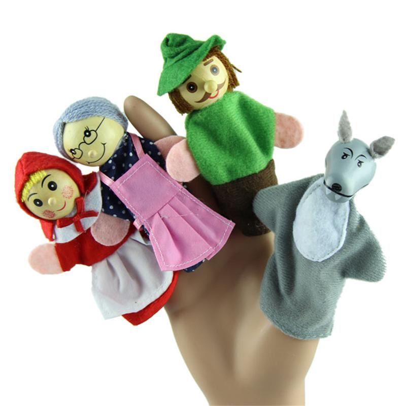New 4PCS/Set Little Red Riding Hood Christmas Animal Finger Puppet toy Educational Toys Storytelling Doll Free Shipping /