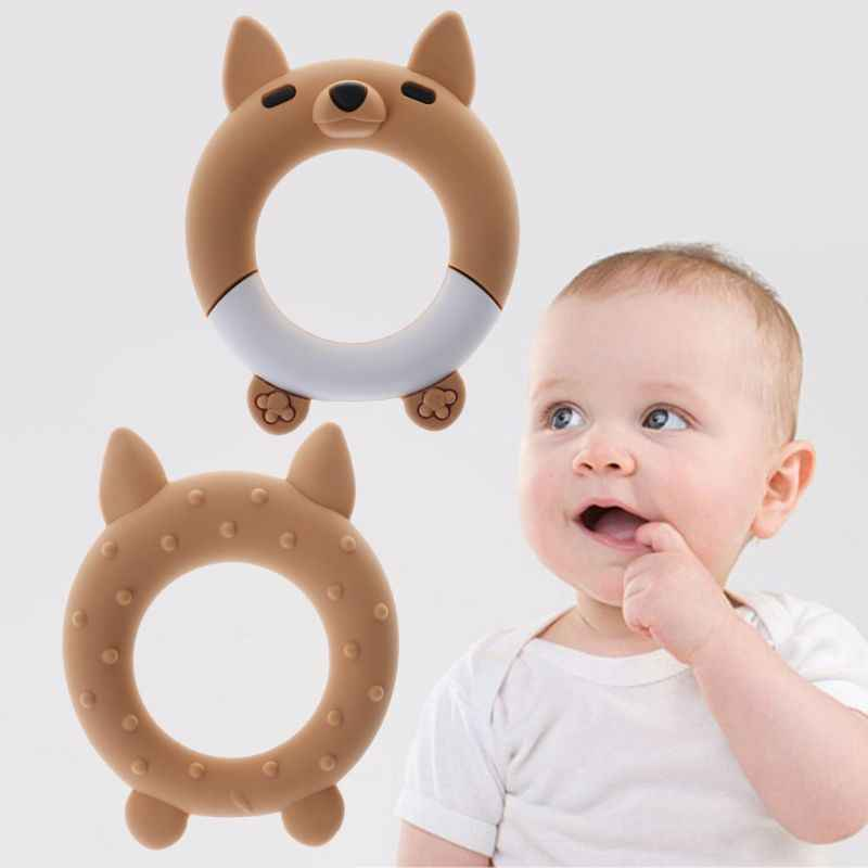 Baby Teether Cartoon Fox Teething Ring Bracelet Bangle Silicone DIY Necklace Pendant Food Grade BPA Free Safe Cute Newborn