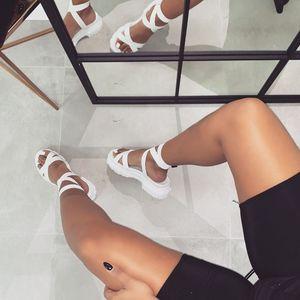 Image 3 - Женские сандалии гладиаторы Perixir, богемные летние сандалии на танкетке с лентами и открытым носком, повседневная обувь из пеньки