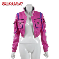 Final Fantasy XV Cindy Aurum Jacket Cosplay Costume FF15 Woman Pink PU leather Sexy Jackets Halloween Uniform