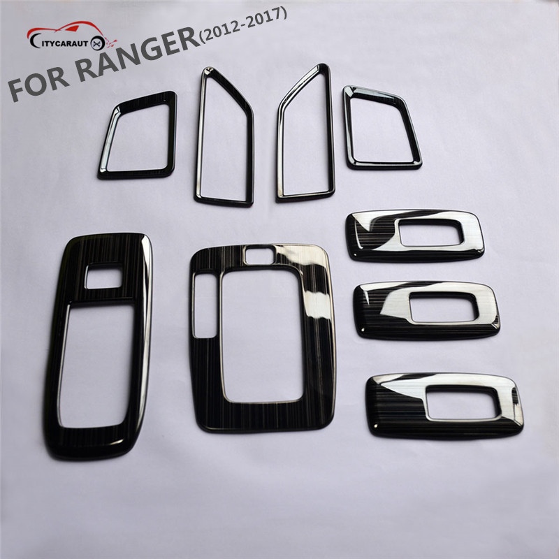Luxurious 9PCS wire drawing Stainless steel Interior Outlet Decoration Ring Molding Trim Covers for 2012-2017 ranger