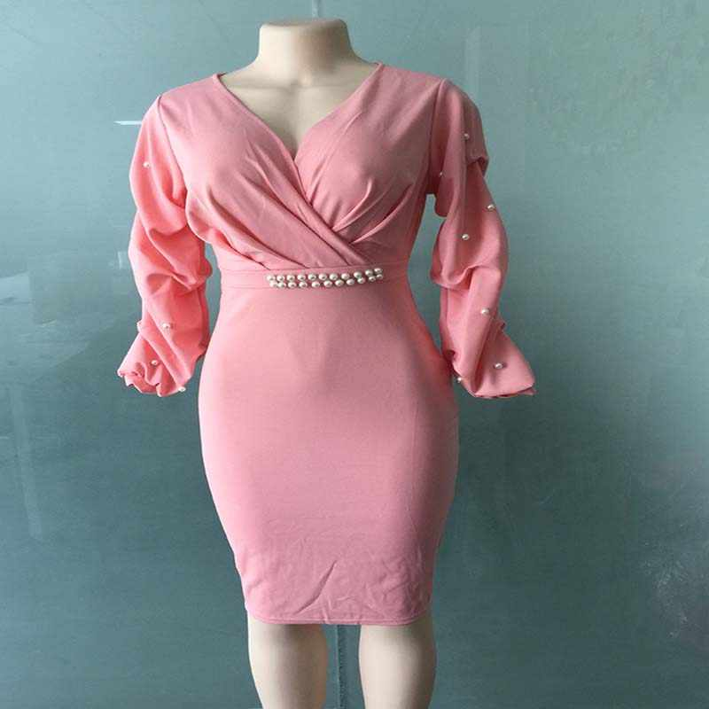 Afrika Kleidung Multi-layered Falten V-ausschnitt Perlen Welle Ärmeln Pendler Kleid Rosa Weiß Puls Größe M-XXL