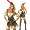 Sexy robin hood costume adult deluxe alta qualidade adulto womens momento mágico halloween costume fancy dress w209075