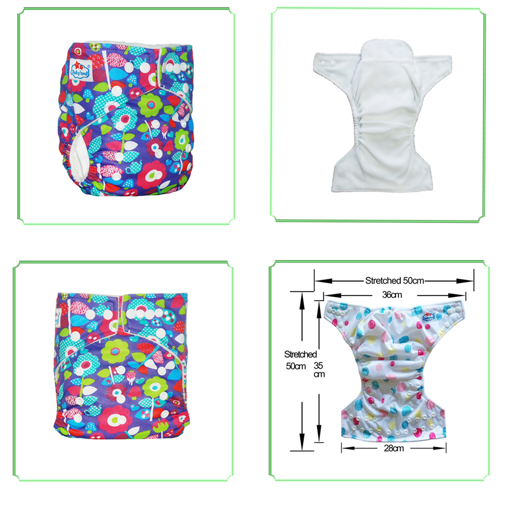 2pcs/Set B Grade Waterproof Diaper Cover Polyester Washable Baby Nappy Reusable Cloth Diapers Pocket Nappy 0-3 Old Free Shipping
