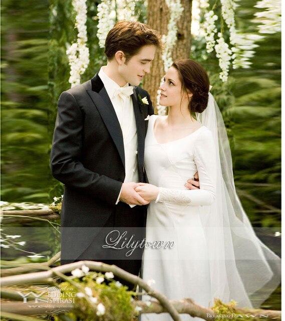 813b39b26 Kristen Stewart Twilight Bella Swan przed Świtem Suknia Ślubna V-Neck Z  Długim Rękawem Płaszcza