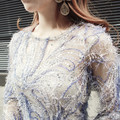 2016 brand party nightclub women's Sweet grace sexy sequins female Tight Mini top Hand beading Sequined flowers mesh lace dress