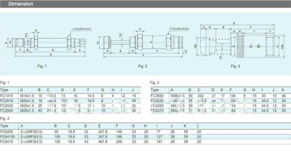 Пневматический гидравлический амортизатор M42x1.5 демпфер 50 мм ход FC4250