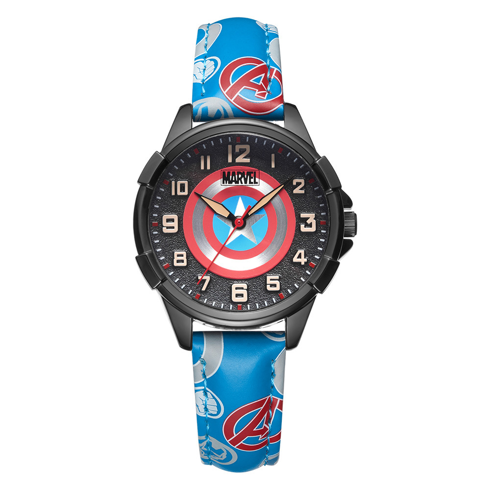 Disney brand Marvel animation boys wristwatches quartz leather waterproof fashion student boys watches|Children's Watches| |  - title=