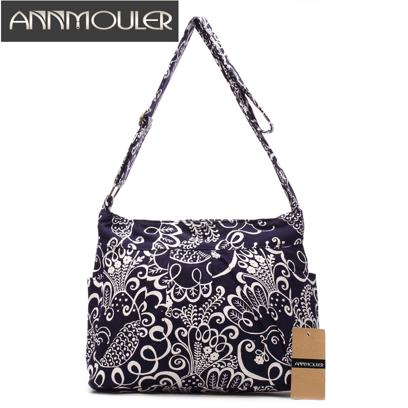 Annmouler Vintage Women Shoulder Bag Cotton Fabric Flap Bag Bohemian Style Messenger Bag Elephant Print Crossbody Zipper Bag ethnic style elephant print and black design shoulder bag for women