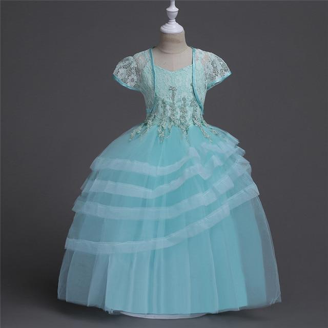 Girls dress Lace shoulder gallus dress fluffy Wedding dresses ...