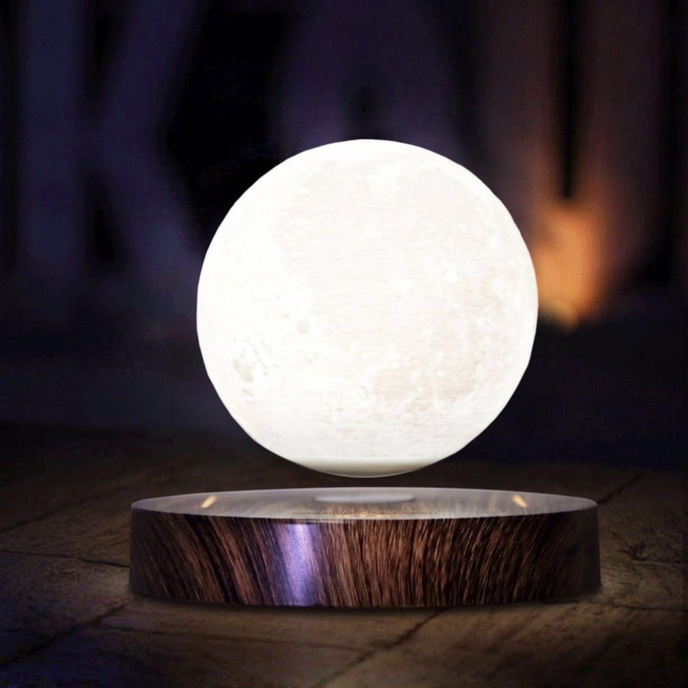 10cm 3D Magnetic Levitating Floating Moon Light Rotating Lunar Table Lamp Romantic Night Light wedding decoration Drop Shipping magnetic floating levitation 3d print moon lamp led night light 2 color auto change moon light home decor creative birthday gift