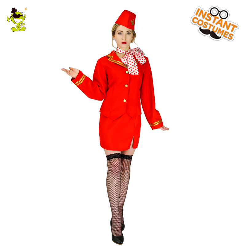 Women's Costumes Free Shipping Red Air Hottest Dress Fancy Dress Costume Ladies Sexy Red Trolley Dolly Virgin Air Hostess Fancy Dress Costume Holidays Costumes