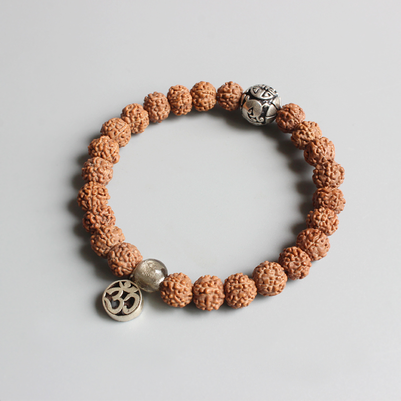 Wholesale Natural Rudraksha Mala beads With Yoga OM Sign Charm Bracelet Tibetan Buddhism