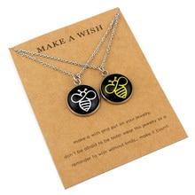 (A Set) Bee Honeybee Lovers Couple Pendants Necklaces Unicorn Pineapple Dragonfly Turtle Tortoise Chain Women Men Jewelry Gift
