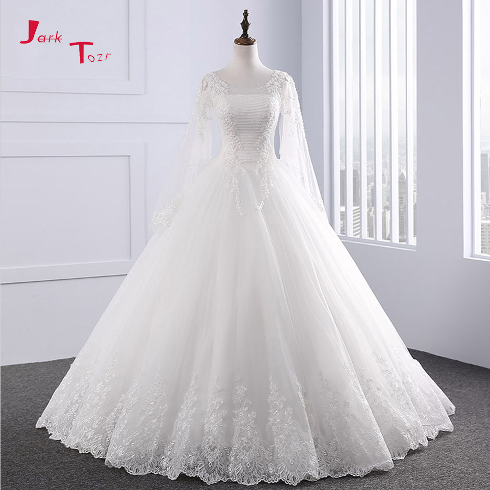 Jark Tozr Custom Made Long Sleeve Lace Beading Sequins Appliques A-line  Vintage Wedding Dress 2a9eba3f57ab